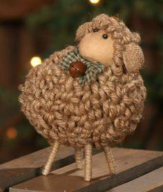 Primitive Wooly Jute Sheep-Sheep,Sheep Decor,Sheep Decoration,Wooly Jute Sheep,Jute Sheep,Primitive Sheep,Country Primitive Decor