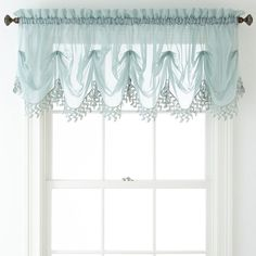 Liz Claiborne® Lisette Sheer Tuck Macramé Valance found at Diy Curtains, Kitchen Curtains, Kitchen Windows, Farmhouse Curtains, Window Coverings, Window Treatments, Waterfall Valance, Window Toppers, Windows