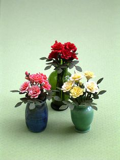 6 Roses Paper Flower Kit for 1/12th scale by TheMiniatureGarden