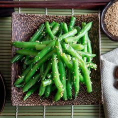 Top down Photo of Garlicky Sesame Stir Fried Green Beans