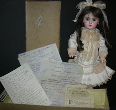 """BEBE JUMEAU - w/ BOX & PAPERS!! - 18"""" - BLUE PAPERWEIGHT EYES!! - A REAL FIND!!!"""