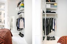 Small closet (Via http://myidealhome.vintageblackboard.com/post/112063290253/bright-apartment-erik-olsson)