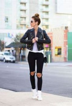 Cool 48 Amazing Winter Outfits Ideas with White Sneakers. More at http://simple2wear.com/2018/03/03/48-amazing-winter-outfits-ideas-with-white-sneakers/