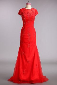 Sexy High Covered Floor Length Elastic Satin Evening Dress With Beading Appliques