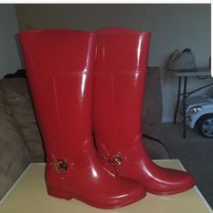 These Are Gorgeous But Not My Sizerain Bootscan Be Used For The Winter Rain And Snow Winter Rain, Winter Boots, Michael Kors Shoes, Rubber Rain Boots, Snow, Red, Color, Things To Sell, Products
