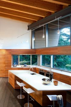 I'm not usually keen on angles that aren't 90-degrees in living spaces, but this seems to work just fine.  Actually, it looks like a fun kitchen to live in.  Great balance of elements here.  Would be really impressed if the glazing was designed for passive solar too, but I doubt it.