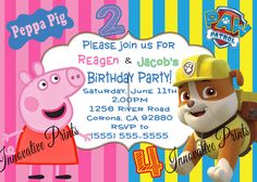 Peppa Pig & Paw Patrol Sibling Birthday Invitation. Click on the image twice to place orders or follow me on facebook. or email me at the address in BIO.