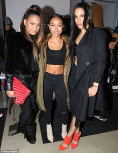 Girls night out: L-R Christina, Karrueche and Liz Milian join forces for a Valentine's eve...
