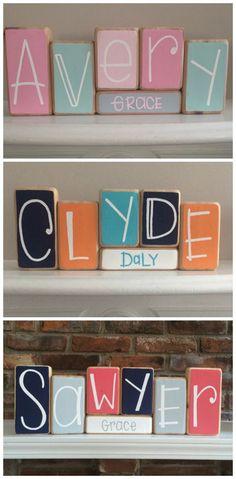 Baby Name Blocks - Personalized Baby Gift - Baby Shower Idea - New Mom Gift - Baby Boy or Girl Nursery Decor - Custom Baby Decoration #baby #nurseryideas #ad #nurserydecorideas