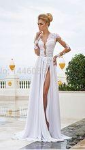 Lace Lovely Beach Elegant Prom Wedding Bridal Chiffon Long Dress