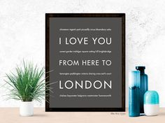 London Print, Christmas Gift Idea for Her, United Kingdom Travel Poster Home Decor, I Love You From Here To LONDON, Dark Gray, Canvas Print