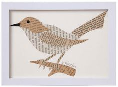 Framed Bird Collage originally sold by Signals catalog. Easy to replicate with old book pages & coloring pages used as a pattern.
