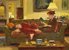 Evening at Home - David P. Hettinger American, b.1946- Oil on canvas