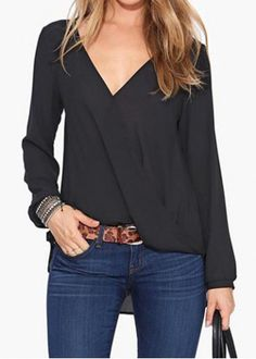 plunging blouse + jeans
