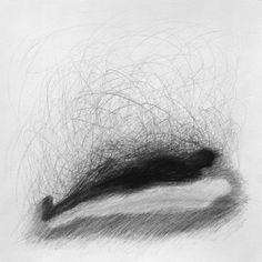 """MARIA TEMNITSCHKA, Drawing zu Text """"In Gedanken liege ich am Straßenrand./ Kein Toter./ In mir versunken voll Freude"""". (Richard G.Künz)"""