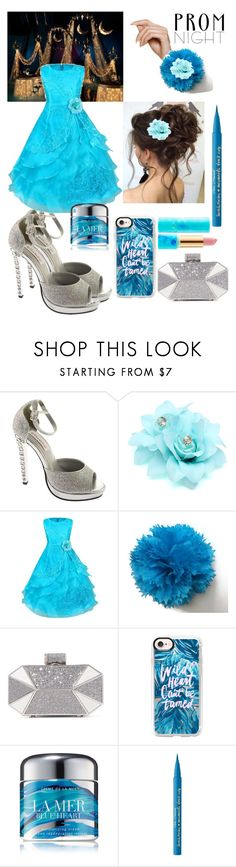 """""""Prom azur"""" by fashionko ❤ liked on Polyvore featuring Dyeables, Halston Heritage, Casetify, La Mer, Too Faced Cosmetics and tarte"""