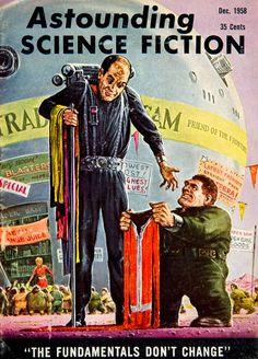 1958 Cover Astounding Science Fiction Art Ed Emshwiller Jetpack Dwarf Trader Sam #vintage #sciencefiction
