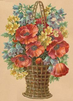 FLORES Y LETRAS PARA DECOUPAGE | Aprender manualidades es facilisimo.com Art Vintage, Decoupage Vintage, Vintage Images, Flower Images, Flower Pictures, Flower Art, Floral Illustrations, Illustrations And Posters, Vintage Flowers