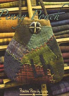 Primitive Folk Art Wool Applique Pattern: PENNY POUCH - Wool Crazy.