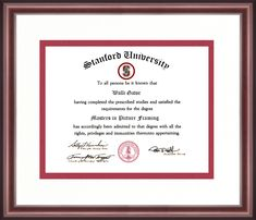 #Diploma #Graduation #College #University #School #StanfordUniversity #Stanford #California #Cardinal Standford University, Cambridge College, University Diploma, Diploma Frame, Alma Mater, School Colors, Business Management, Study, Studio