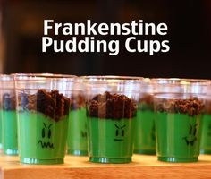 Frankenstine pudding cups - the perfect #halloween treat via The Mom Creative. Saving for next year.