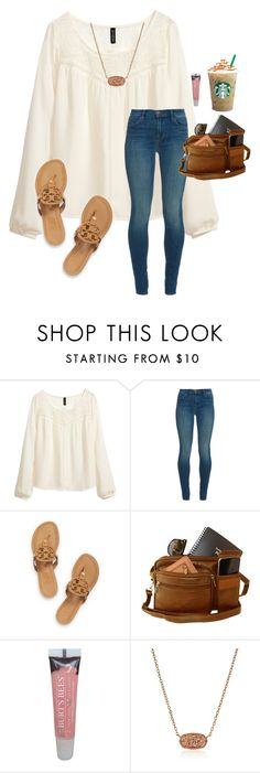 """Then baby I'm perfect. Baby I'm perfect for u"" by a-devo ❤ liked on Polyvore featuring H&M, J Brand, Tory Burch, Burt's Bees and Kendra Scott"
