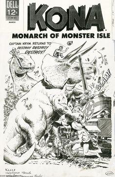 Original Comic Art:Covers, Sam Glanzman - Kona #17 Cover Original Art (Dell, 1966). Dellpublished 21 issues of Kona, Monarch of Monster Isle from ... Image #1