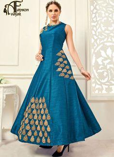 blue anarkali salwar suit – salwar kameez online shopping