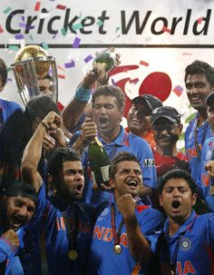 2011: Indian cricketers celebrate with their trophy after winning the 2011 Cricket World Cup final match against Sri Lanka in Mumbai. #IndiaDefends   www.cricvista.com