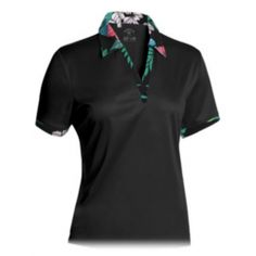 Monterey Club Floral Collar Sleeveless Shirt - Black Golf Clothing..Have in in sleeveless with matching skort..really cute