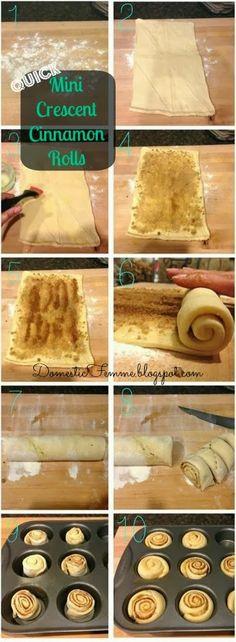 Mini Crescent Cinnamon Rolls - I could use this recipe for the cinnamon bun pops