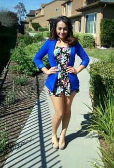 floral romper+blue blazer+nude heels= adorable