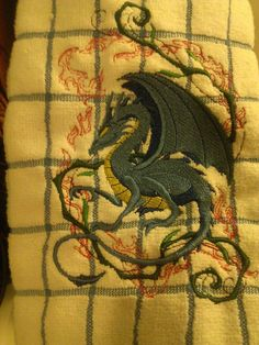 Embroidered Dragon Dish Towel by Skyclothingandgifts on Etsy