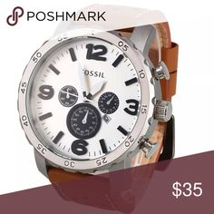 Fossil Men's Quartz White Dial Chronograph Watch Fossil watches are offered in an array of sizes, styles and materials. Watches with charm bracelet links to watches with leather bands and everything in between can be found both in Fossil men's and ladies watch line! Whether you are after classic, adventurous, elegant, leather, you will find something to fit your look in this brand's collection! The company's founding principal of bringing fashion to function Fossil Accessories Watches