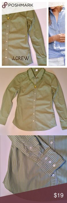 """J.CREW Button Down Fitted Pinstripe Shirt. 100 % Cotton with tailored look. Lime green with white stripes bordered in a very thin stripe of blue. In gently preloved condition. Beautiful glossy buttons adorn this dressy or casual look shirt. Armpit to Armpit laying flat 18"""" .... From Shoulder to hem (longest part of curve 26"""" .... Sleeve length is 24"""" ... Go from office to play. J. Crew Factory Tops Button Down Shirts"""