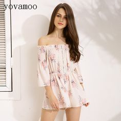 185b2d996a Rompers Womens Jumpsuit Off The Shoulder Slash Neck Sexy Shorts Lace  Patchwork Boho Playsuit Womens Clothing