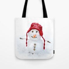Snowman Tote Bag by karidesign Poplin Fabric, Hand Sewn, Original Artwork, Snowman, Stress, Reusable Tote Bags, America, Stitch, Sewing
