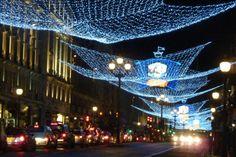 LONDON, England - Christmas lights on Rengent Street.