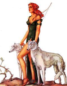 Em Roma, Diana (a Artêmis grega) era a deusa da lua e da caça, filha de Júpiter e de Latona, e irmã gêmea de Apolo.