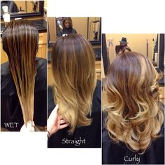 Here is the 3 stages in her hair. When hair is wet it appears darker. When the hair is straight it blends well. When the hair is curly the movement of the hair makes the color pop and appear slightly lighter. #hairbylarisalove #Padgram
