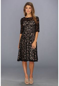 Adrianna Papell Sleeve All Over Lace Dress (Black/Nude) Women's Dress Lace Sheath Dress, Lace Dress Black, Day Dresses, Prom Dresses, Plus Size Cocktail Dresses, Street Style 2017, Fit And Flare, Adrianna Papell, Cold Shoulder Dress