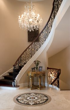 Wow check out this cool floating staircase - what an innovative style Foyer Staircase, Staircase Design, Staircases, Floating Staircase, Chandelier Staircase, Double Staircase, Foyer Design, Home Interior Design, Interior Architecture