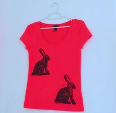 Hare Print T-Shirt - Hot Pink Neon Rabbit - Stylish Bright Womens Top - Hand Printed Black Print - Quirky, Cute, Fun Cotton T Shirt. £13.00, via Etsy.