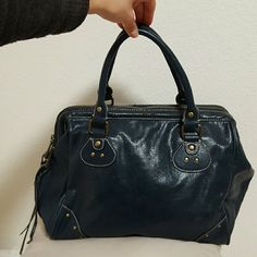 Deep Blue Satchel Bag with beautiful paisley lining on inside Avon Bags Satchels