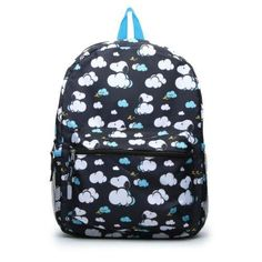 Kids Peanuts Snoopy In The Clouds Black Backpack 16""