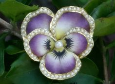 Antique 14k Yellow Gold Enamel Pearl Pansy Pendant Brooch Watch Pin Estate 8.8 g FOR SALE • $1,599.99 • See Photos! Money Back Guarantee. Breathtaking Pansy from the Art Nouveau era enameled in painstaking realism. The natural look of the petals makes you think they would be soft to the touch. The masterful color 311772777349