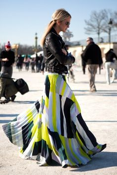 Zanna Roberts Rassi | haratsiro, via tumblr. Maxi skirt + leather jacket. #streetchic