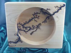 Square Maple Bowl - Diagonal Burn by FrillsElectricWood on Etsy Lichtenberg Figures, Lightning Strikes, How To Apply, How To Make, No Frills, Burns, Woodburning, Etsy, Microwave