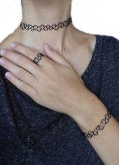 Kup mój przedmiot na #vintedpl http://www.vinted.pl/akcesoria/bizuteria/10129229-tattoo-choker-komplet-trzy-czesci