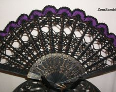 Crocheted Hand Fan with Skulls & Sequin trim by ZomBambieCrochet